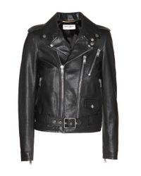 Saint Laurent - Black Leather Biker Jacket - Lyst