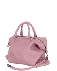 Bottega Veneta - Pink Small Convertible Intreccio Leather Bag - Lyst