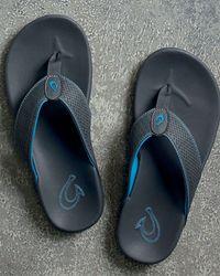 Olukai - Gray Kekoa Perforated Thong Sandal for Men - Lyst