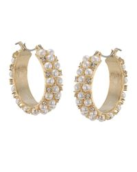 Carolee | White Pearl And Glass Stone Encrusted Hoop Earrings | Lyst