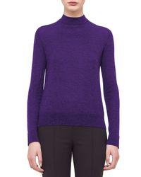Akris - Purple Cashmere-blend Mock-neck Top - Lyst