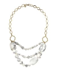 Lydell NYC | White Triple-layer Beaded Necklace W/ Moroccan Quatrefoil | Lyst