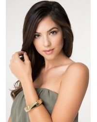 Bebe | Metallic Angular Hinge Bracelet | Lyst