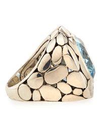 John Hardy - Metallic Silver Batu Kali Blue Topaz Large Square Ring - Lyst