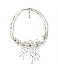 Aeravida | White Gorgeous Sakura Pearl Flower .925 Silver Necklace | Lyst