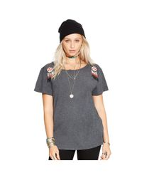 Denim & Supply Ralph Lauren - Gray Beaded Cotton Draped Shirt - Lyst