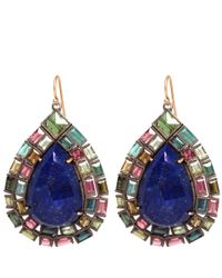 Nak Armstrong | Blue Green And Pink Tourmaline And Lapis Drop Earrings | Lyst