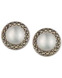 Judith Jack | Metallic Sterling Silver Glass Pearl And Marcasite Stud Earrings | Lyst