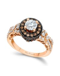 Le Vian | Multicolor Chocolate and White Diamond Engagement Ring in 14k Rose Gold 158 Ct Tw | Lyst