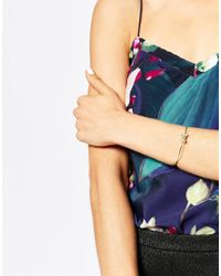 Ted Baker | Metallic Grosgrain Bow Ultra Fine Bracelet | Lyst