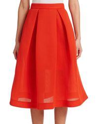 Nicholas   Orange Pleated Pique A-line Skirt   Lyst