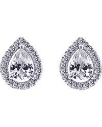 Carat* - Metallic Pear 1.25ct Borderset Stud Earrings - Lyst