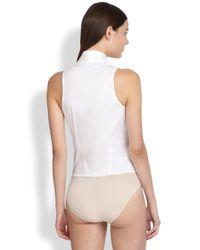 Donna Karan - White Wrap Bodysuit - Lyst