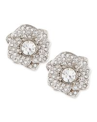 kate spade new york - Metallic Rose Garden Pave Crystal Stud Earrings Silver - Lyst