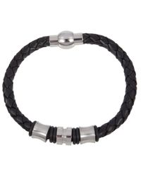 John Lewis - Black Leather & Steel Plait Bracelet - Lyst
