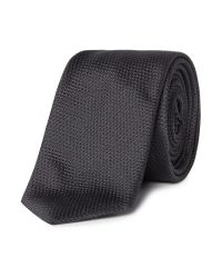 HUGO - Black Tonal Geo Silk Tie for Men - Lyst