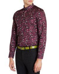 Ted Baker - Purple Noface Floral Print Sport Shirt - Regular Fit for Men - Lyst