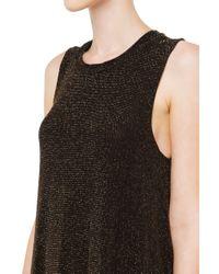 AKIRA | Metallic Shimmery Mesh Insert Going Out Dress - Gold | Lyst