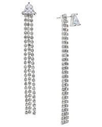 ABS By Allen Schwartz | Metallic Silver-tone Crystal Pyramid Chain Front-back Earrings | Lyst