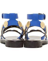 KENZO - Blue Cobalt Leather Medallion Sandals - Lyst