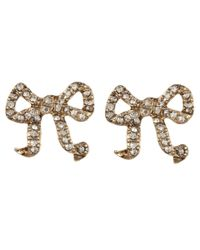 Betsey Johnson - Brown Crystal Bow Studs - Lyst