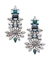 DANNIJO - Gray Everly Crystal Drop Earrings - Lyst