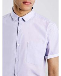 TOPMAN - Purple Short Sleeve Smart Shirt for Men - Lyst