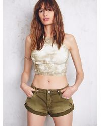 Free People | Green High Neck Seamless Crop | Lyst