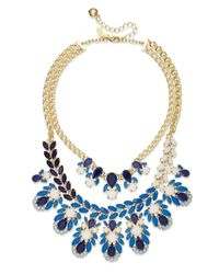 kate spade new york - Metallic New York Gold-tone Blue Stone Two-row Statement Frontal Necklace - Lyst