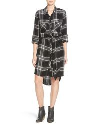 Beach Lunch Lounge | Black Belted Plaid Shirtdress | Lyst