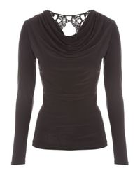 Jane Norman - Black Long Sleeve Brocade Cutout Top - Lyst