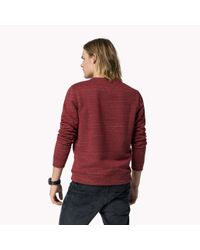 Tommy Hilfiger | Red Cotton Blend Crew Neck Sweater for Men | Lyst