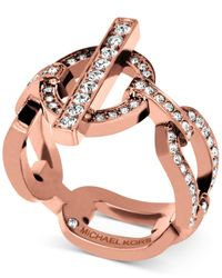 Michael Kors | Pink Rose Gold-tone Toggle Link Ring With Pavé Crystal Accents | Lyst