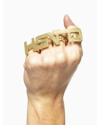 """KTZ   Metallic """"clash"""" Ring for Men   Lyst"""