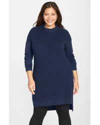 Halogen | Blue Side Zip Tunic | Lyst