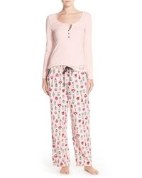 Betsey Johnson - Multicolor Ribbed & Flannel Pajamas - Lyst