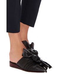 Tibi - Black Sawyer Nappa Leather Bow Slip On Sandals - Lyst
