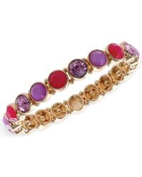 Nine West - Gold-Tone Purple Stone Stretch Bracelet - Lyst