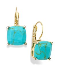 Lauren by Ralph Lauren | Blue Gold-Tone Faceted Stone Drop Earrings | Lyst