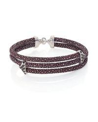 Stinghd - Black Diamond, 18k White Gold & Stingray Triangle Wrap Bracelet for Men - Lyst