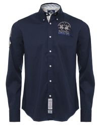 La Martina | Blue Long Sleeved Logo Shirt for Men | Lyst