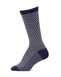 Ralph Lauren | Blue Chevron Herringbone Polo Trouser Socks | Lyst