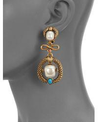 Oscar de la Renta - Metallic Embellished Rope Drop Earrings - Lyst