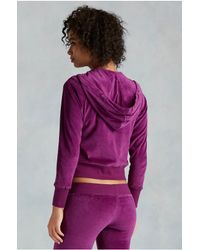 True Religion | Purple Velour Cropped Zip Up Womens Hoodie | Lyst