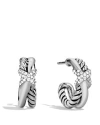 David Yurman | Metallic Petite X Crossover Earrings With Diamonds | Lyst