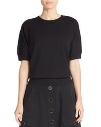 DKNY | Black Cropped Short-sleeve Sweater | Lyst