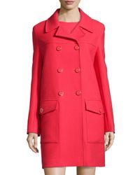 DKNY - Red Double-breasted Wool Coat - Lyst