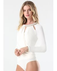 Bebe - White Necklace Bodysuit - Lyst