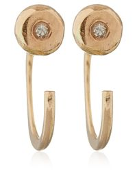 Melissa Joy Manning | Metallic Gold White Diamond Hug Earrings | Lyst