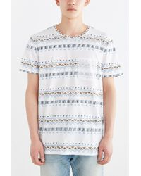 BDG | White Geo Stripe Standard-fit Pocket Tee for Men | Lyst